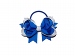 Hair Bow.        Royal/White